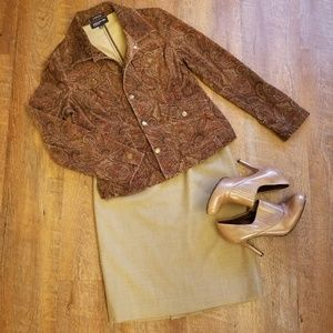 Talbots Petites Camel Career Pencil Skirt, 8P, EUC
